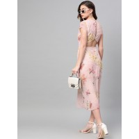 SASSAFRAS Women Peach-Coloured & Pink Printed A-Line Dress