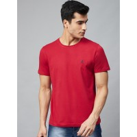 Nautica Men Red Solid Round Neck T-shirt
